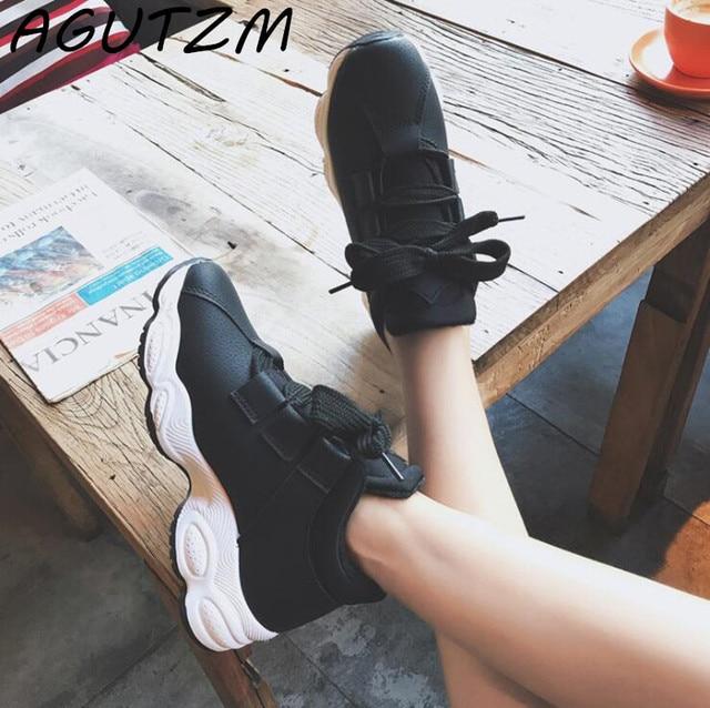 AGUTZM весна осень платформа кроссовки обувь для женщин Удобная свиная замша повседневная женская обувь 2018 tenis feminino