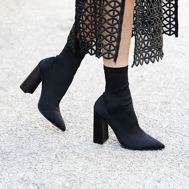 Jookrrix 2018 Spring New Fashion Elastic Sock Boots Chunky High Heels Stretch Shoes Women Sexy Booties Pointed Toe Pump Mid Calf luxury design fashion ankle elastic sock boots high heels women diamond bling sexy martin booties pointed toe women pump