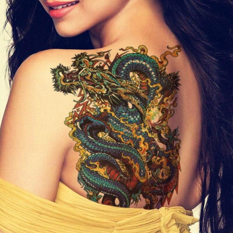 Nu Taty Bleu Dragon Chinois Art Corporel De Tatouage Temporaire Bras