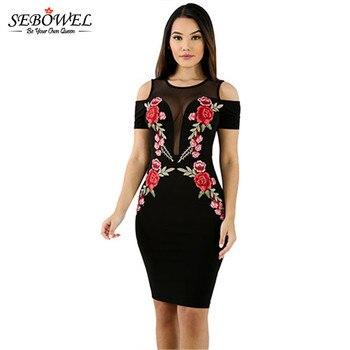 9831b3f19 SEBOWEL verano bordado Rosa elegante Bodycon vestido de fiesta mujeres Sexy  negro malla lápiz vestido señora Vintage vestidos de hombro