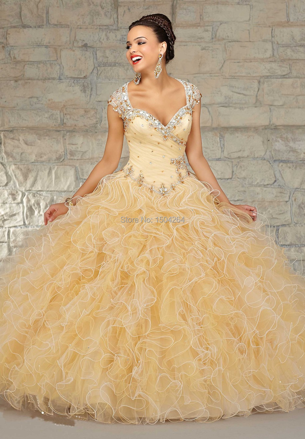 Aliexpress.com : Buy 2015 Hot trend yellow quinceanera dresses ...