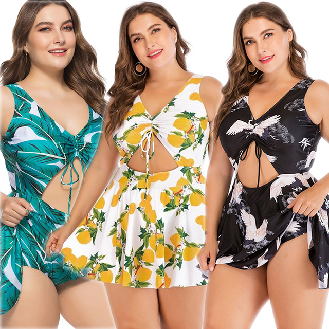 ZWEMPAK Tankini Plus Size 5XL Women One Piece Print Big Summer Swimsuit Swimming Dress Beachwear Large 3XL Bathing Suit Swimwear 1