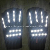 New Led Light White Color Luminous Flashing Glowing GLoves For DJ Club Party Christmas Halloween Decoration Free Shipping