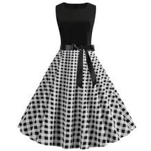 Bebovizi 2019 Summer New Women Casual Office Black White Plaid Print Dresses Elegant Plus Size Patchwork Vintage Bandage Dress