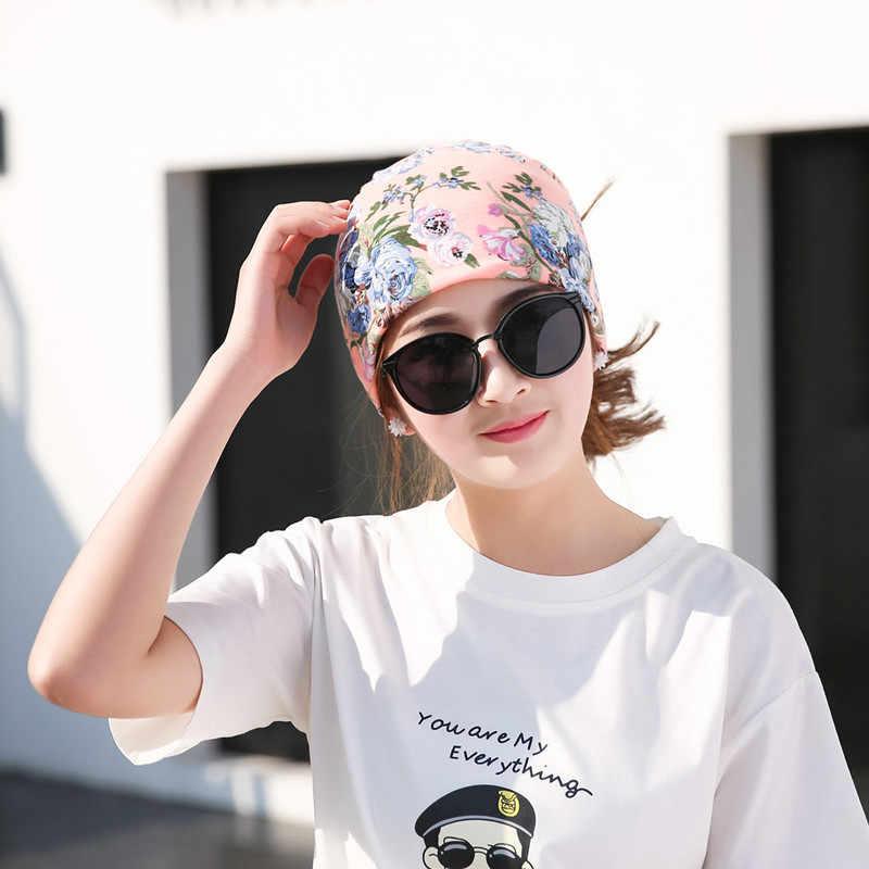 100% Delle Signore del Cotone Del Fiore Del Tubo Stampato Cappello Multi-funzione di Ragazze Copricapi Primavera Autunno Motivo Floreale Turbante Turbante di Moda