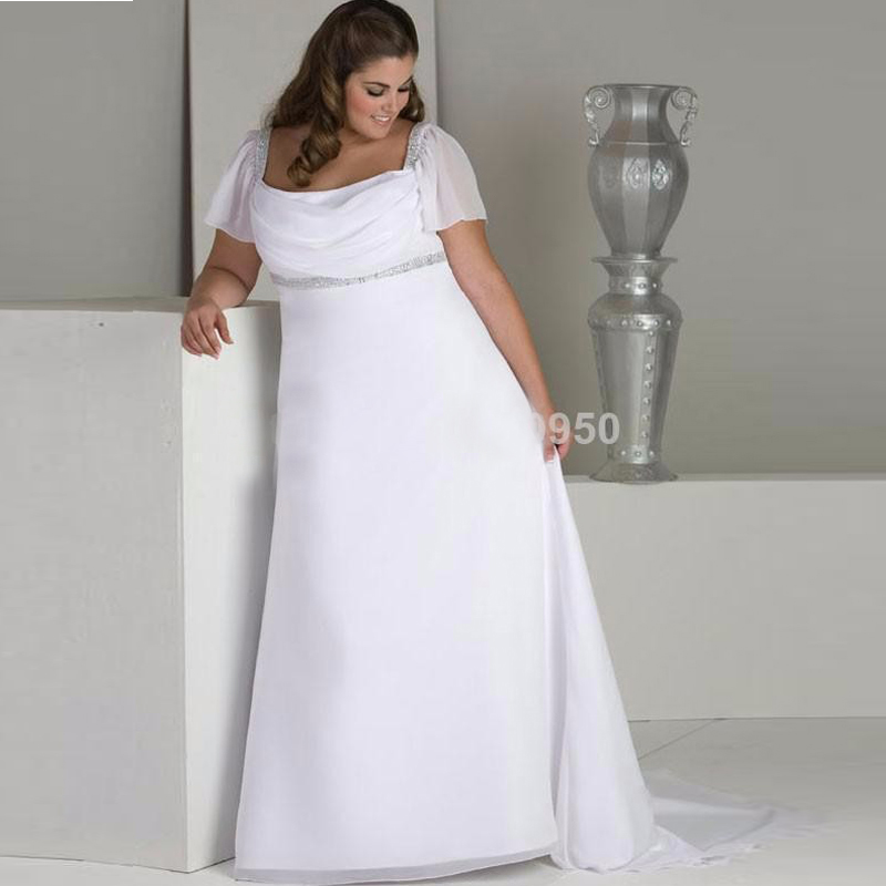 Hot Sale Cap Sleeves Empire Waist Chiffon Long Plus Size Wedding