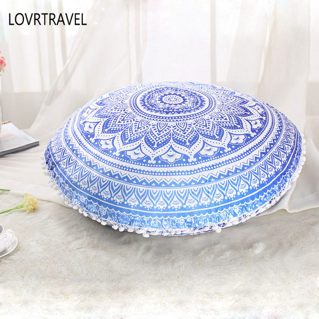 Indian Mandala Floor Pillows Round Bohemian Tassel Cushion Pillows Cover Case Color Pillow Home Living Room Bed Decorative-in Cushion Cover from Home ...