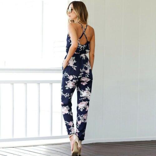 Women Playsuit   Romper   Long Pants Summer Ladies Print Beach Style Lace Up Jumpsuit