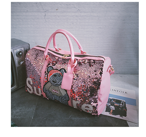 2019 wholesale sequins sport bags ladies leather gym bag women fitness Training Luggage handbag travel duffel bag for womens