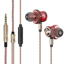 цена на Bluetooth Earphone In-ear Double Unit Earphone 3.5MM Bluetooth 2 Unit Driver Earbuds Bass Subwoofer Headset With Mic For Phone