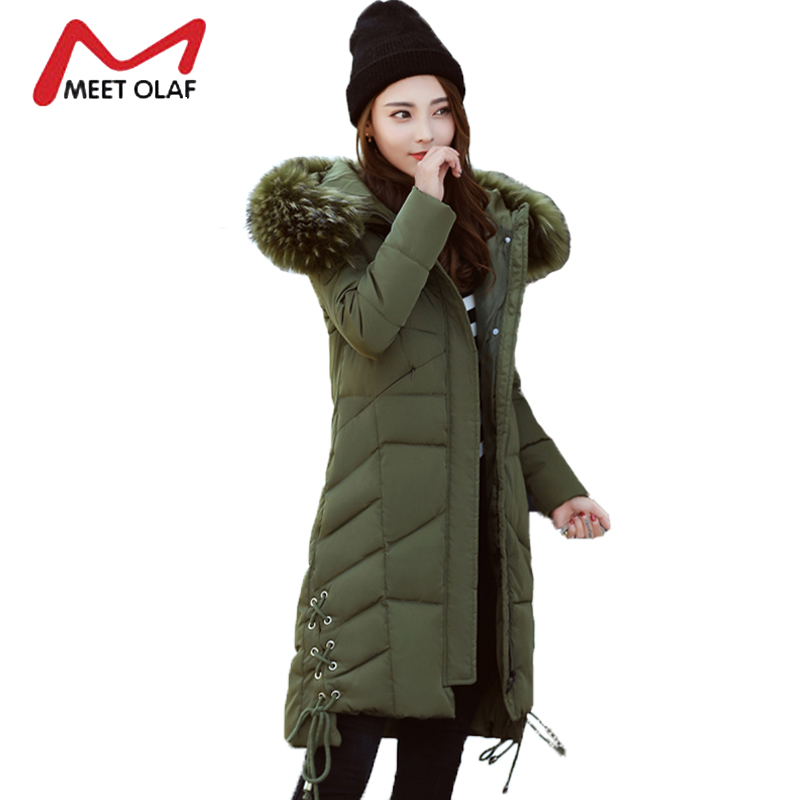 2017 Large Fur Hooded Winter Jackets Women Long Winter Parkas Female Side Lace up Coats Outwear chaquetas invierno mujer Y1433 2017 winter down jackets women winter coats female long hooded cotton padded parka wadded outwear chaquetas invierno mujer yl739