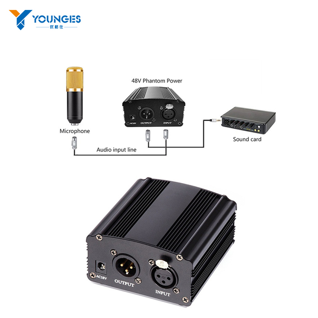2017 plug 220 V single channel 48 V phantom power + adapter + data cable XLR audio recording any capacitive microphone