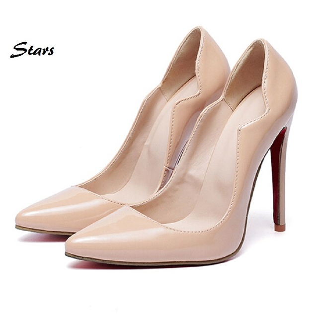 Brand Fashion Women Pumps Red Black Apricot High Heel Pumps Shoes For Women Sexy Party Wedding Shoes Woman Zapatos Mujer Size 43
