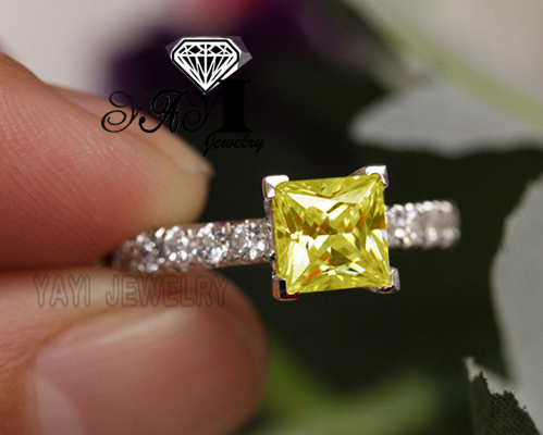 Engagement-Rings Zircon Yayi Jewelry Princess-Cut-2.8ct Yellow Silver-Color Fashion title=
