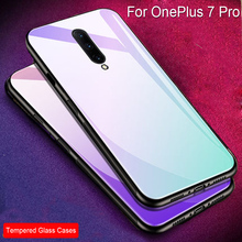 Blue Color Slim Silicone Case For OnePlus 7 Pro Gradient Tempered glass Hard Back cover For OnePlus 7 Pro Cases OnePlus7Pro