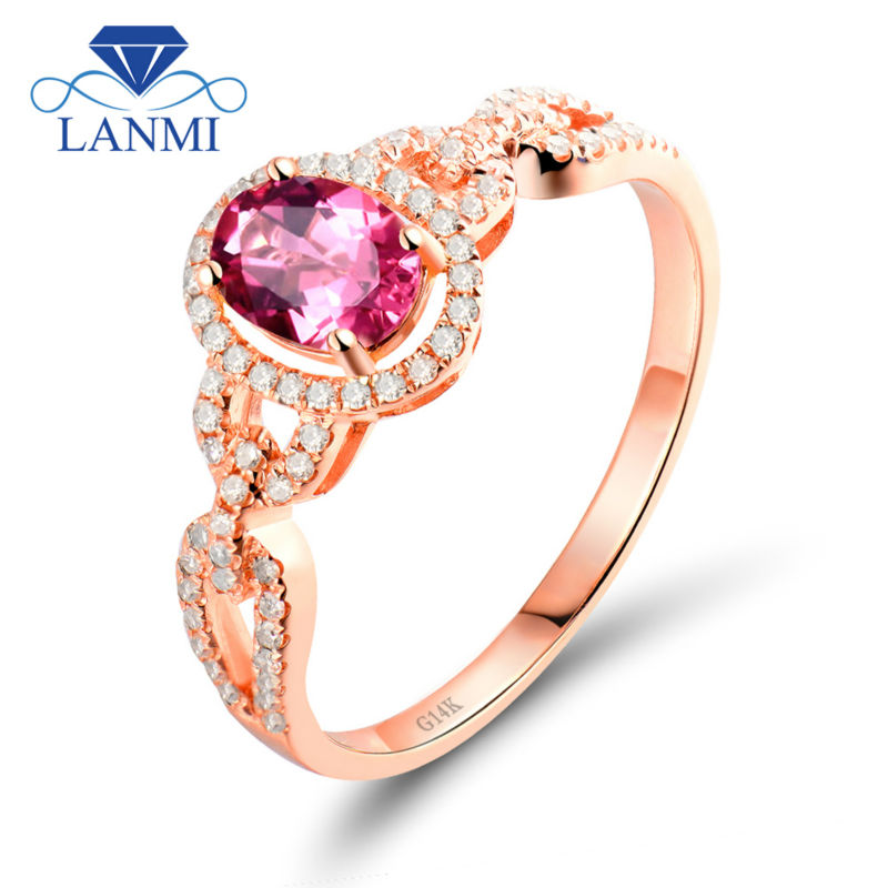 New Stunning Oval 5X7mm Pink Tourmaline Diamond In Solid 14 KT Rose Gold Wedding Bands SU30TOU jenni new pink solid ruffled chemise l $39 5 dbfl