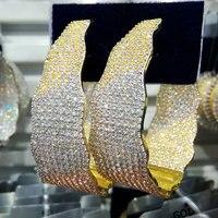 GODKI Luxury Width Geometry Cubic Zirconia Statement Hoop Earrings For Women Wedding DUBAI Big Earrings Jewelry Accessories 2018