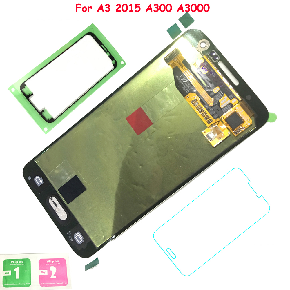 FIX2SAILING Super AMOLED For Samsung Galaxy <font><b>A3</b></font> 2015 A300 A3000 LCD Display Touch Screen Assembly Sticker Tempered Glass