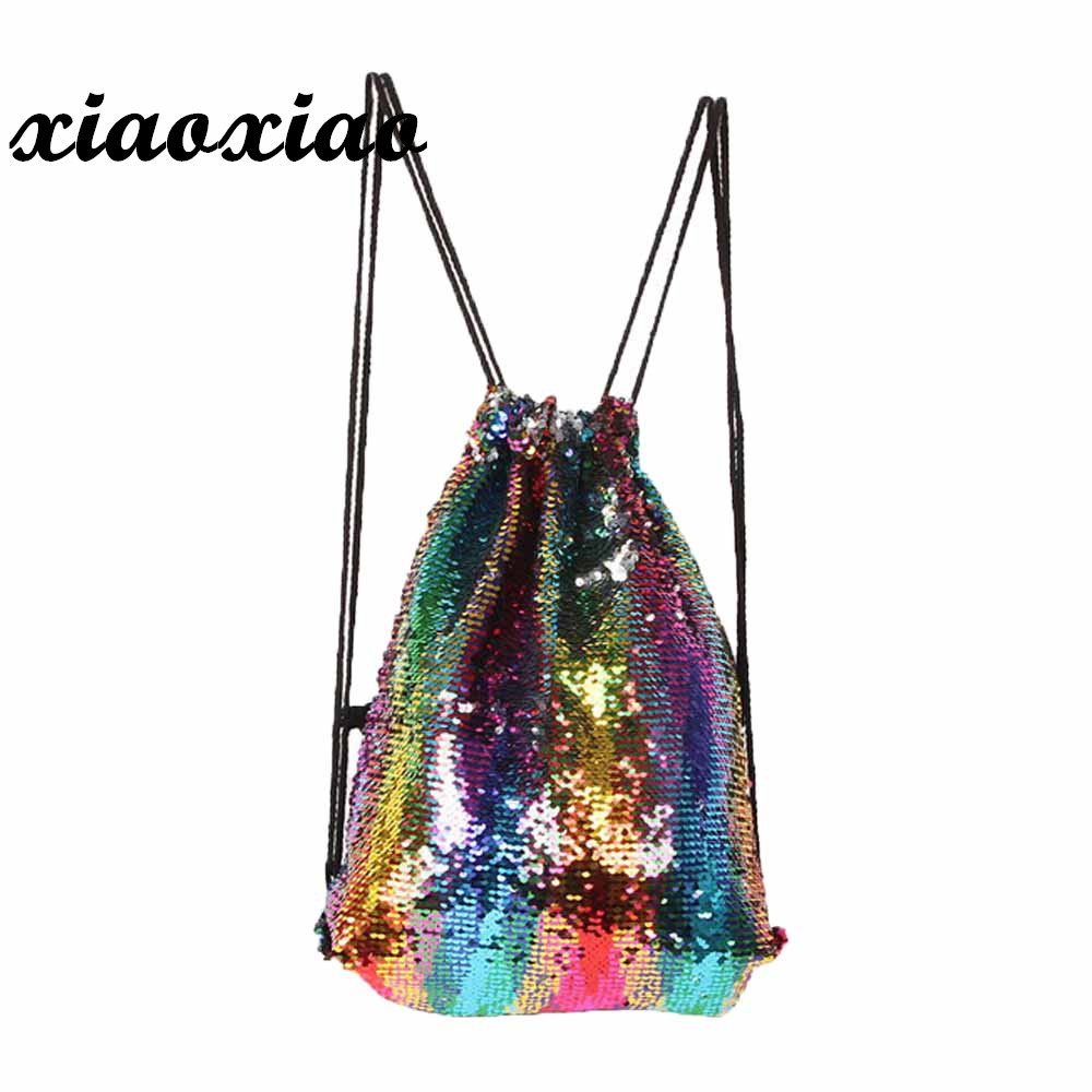 HTNBO Women Cosmetic Bags Fashion Glitter Back pack Reversible Sequins Mermaid Drawstring Ladies Magic Sequins Bags for Girls