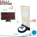 Serviço de Pager Caller sistema 50 botões com o suporte do menu 2 receptor de mesa para equipamentos de restauração