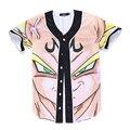 2016 Del Verano de Impresión 3D Anime Dragon Ball Super Saiyan Béisbol Camisa Con Cuello En V de La Cadera hop Streetwear Tops Camisas de Los Hombres 3XL
