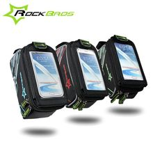 ROCKBROS For 6″ inch MTB Saddle Cycling Bicycle Bike Front Tube Bag Pouch Frame Pannier Touch Screen With Waterproof Cover
