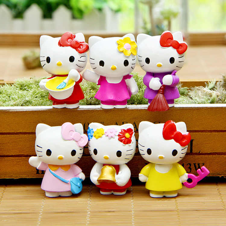 Cartoon Hello Kitty 6pcs/set Kawaii 4.5cm Toys Dolls Anime PVC Action Figure Children Gifts Free Shipping