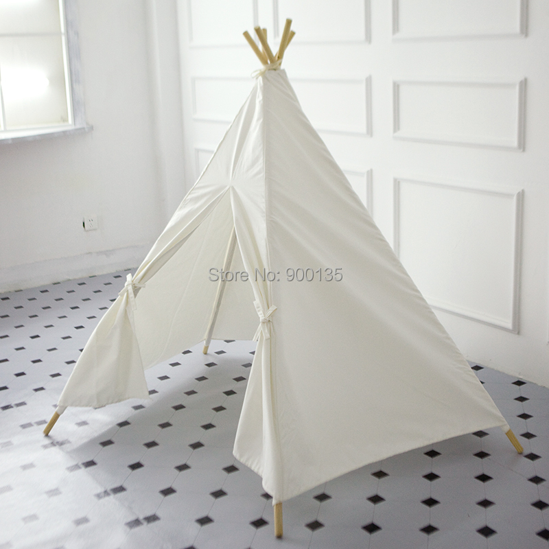 White Five Poles Cotton Canvas Teepee Tent Without Window Kids Play DIY Tent-in Toy Tents from Toys u0026 Hobbies on Aliexpress.com | Alibaba Group & White Five Poles Cotton Canvas Teepee Tent Without Window Kids ...