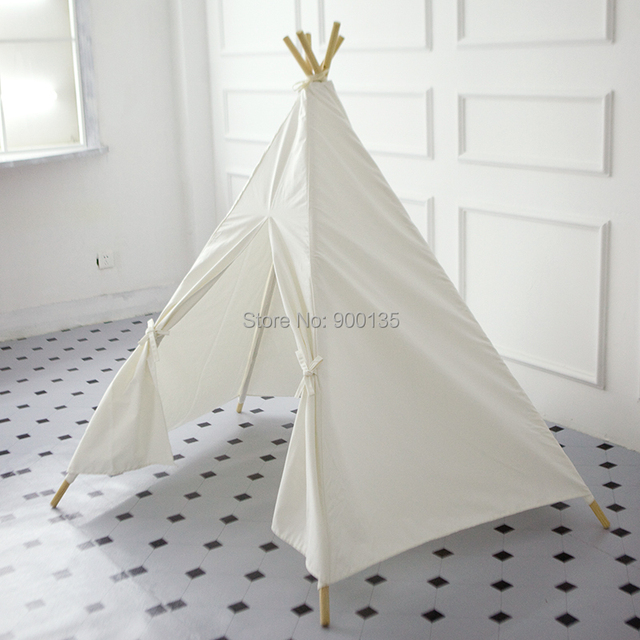 White Five Poles Cotton Canvas Teepee Tent Without Window Kids Play DIY Tent & White Five Poles Cotton Canvas Teepee Tent Without Window Kids ...
