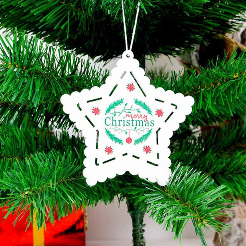 1pc Wooden Diy Christmas Tree Hanging Ornaments Pendant Bells Santa Claus New Year Decor Christmas Decorations For Home