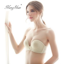 MengShan Women without shoulder straps Sexy Bridal underwear 1/2 cup Seamless lace embroidered bra Gather ladies