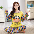Varejo ou Atacado Estilo Macaco Conjuntos de Pijama Pijamas de Manga Longa mulheres Sleepwear outono e inverno 100% Algodão Das Mulheres