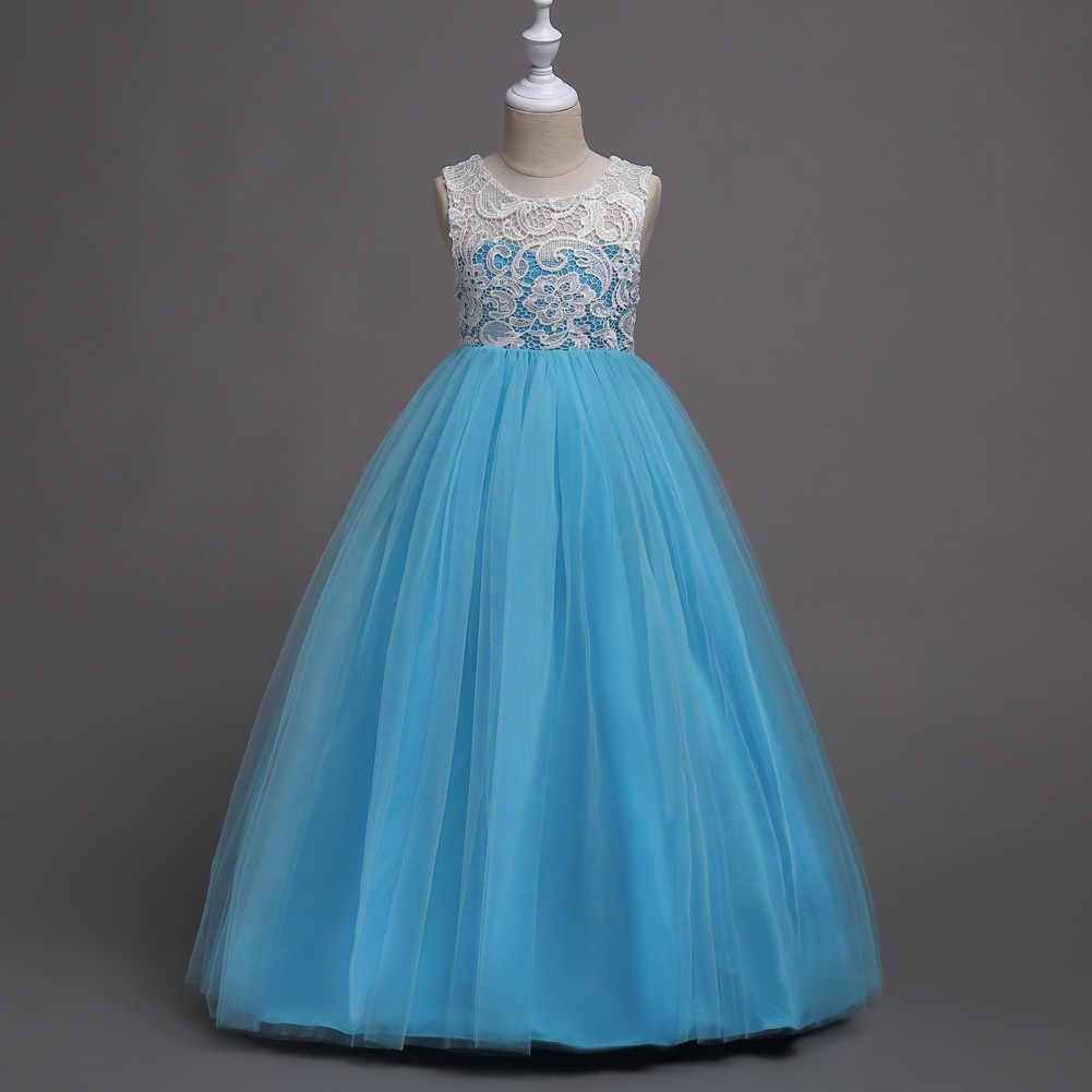 6e09e009fe219 Elegant Patchwork Party Kids Ball Gown Girl-dresses-for-weddings White and  Navy Blue Flower Girl Dresses for Events for Children