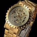 50 шт./лот, Часы мужчины 2016 лучших люксовый бренд золото механическая рука ветер reloj хомбре стальной ленты мужские наручные часы часы