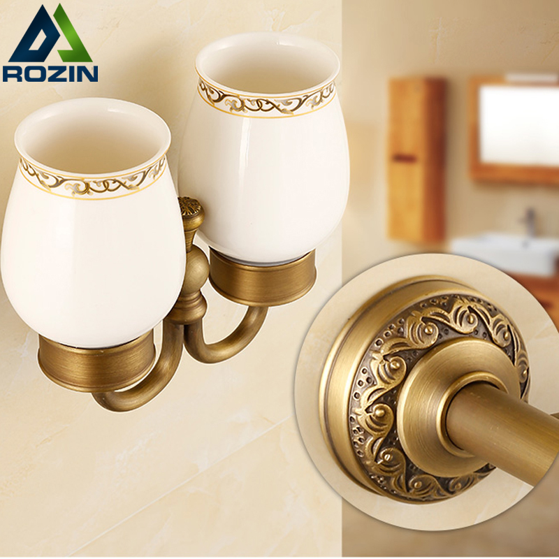 Free Shipping Ceramic Wall Mounted Toothbrush Holder Antique Brass Toothbrush Tumbler&Cup Holder Wall Mount Bath Product new modern washroom toothbrush holder luxury european style tumbler