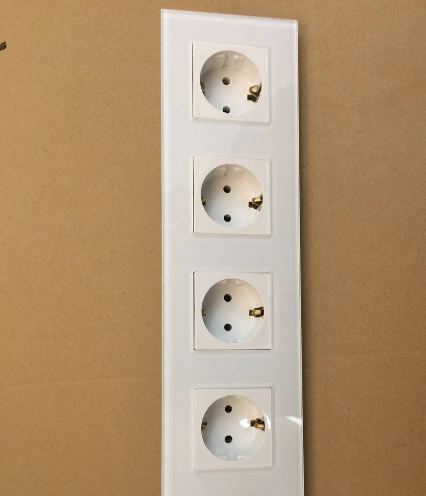 Free shipping , EU Quadruple Power Socket Schuko, White Crystal Glass Panel, 16A Fourfold EU Standard Wall Outlet KP004EU-W atlantic brand double tel socket luxury wall telephone outlet acrylic crystal mirror panel electrical jack