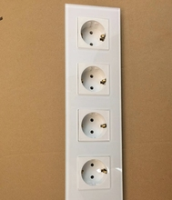 Free shipping , EU Quadruple Power Socket Schuko, White Crystal Glass Panel, 16A Fourfold EU Standard Wall Outlet KP004EU-W free shipping touch switch with eu standard socket black crystal glass panel 16a eu socket vl c701 12 vl c7c1eu 12