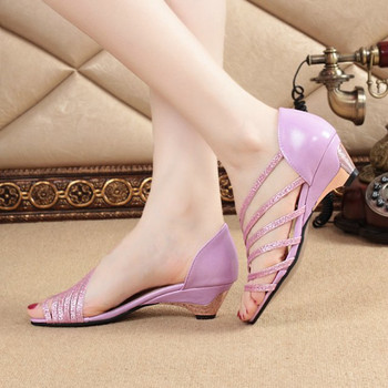 Summer Hollow Women Sandals Thick High Heel     Fashion Sandal Female Party Shoes