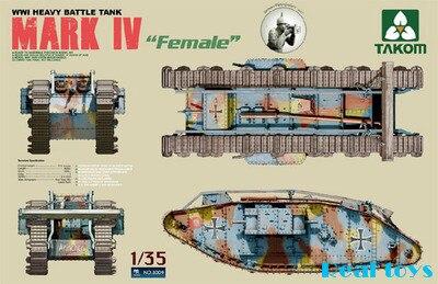 Tank model NO2009 1/35 WWI Heavy Battle Tank MARK IV Female plastic model kit romania in wwi