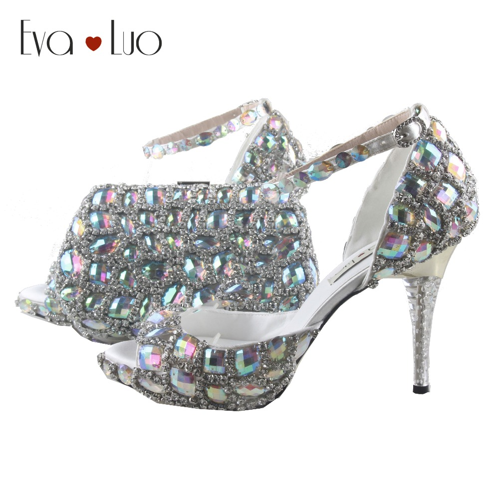 BS914 DHL Custom Made Multicolor AB Rhinestones Shoes With Matching Bag Set  Women Shoes Dress Pumps bd9d55cad1a6