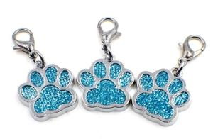 Image 2 - 50pcs/lot Colors Bling bear dog paw print with lobster clasp diy hang pendant charms fit for keychains jewelrys