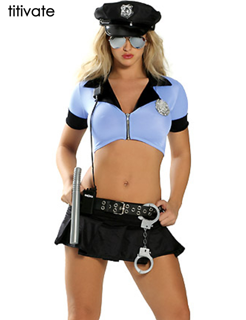 TITIVATE New Ladies Police Cosplay Sexy Erotic Outfit Lingerie Police Fancy Sexy Cop Costume for Women