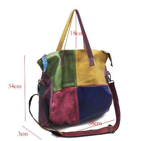 Patchwork Genuine Leather Bag Lady Vintage Retro Chic Big Capacity Handbag 2019 Fashion Designer Luxury Crossbody Bag for Women 1