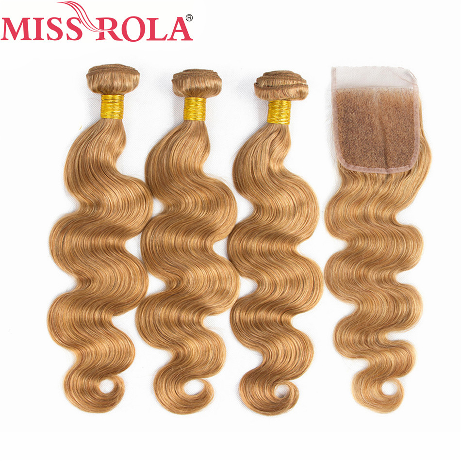Miss Rola Hair Pre colord Malaysian Body Wave Hair Weaving 3 Bundles With Closure 27 Color