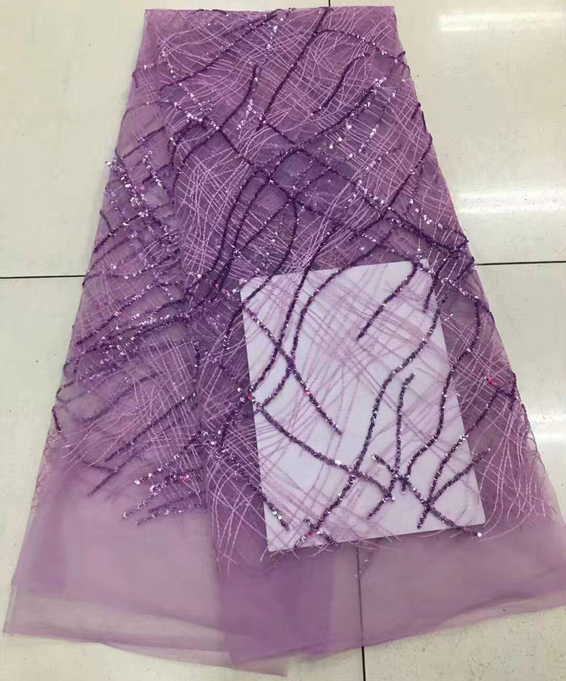 Free shipping 5yards pc graceful African net lace fabric lilac purple French lace fabric with sequins
