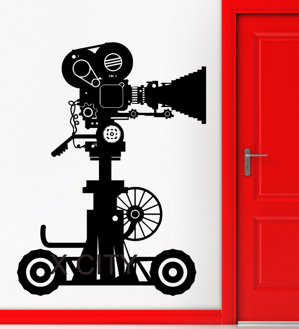 Picture Movie Projector Antique Camera Hollywood Old Retro Art Vinyl Wall Decal Sticker Home