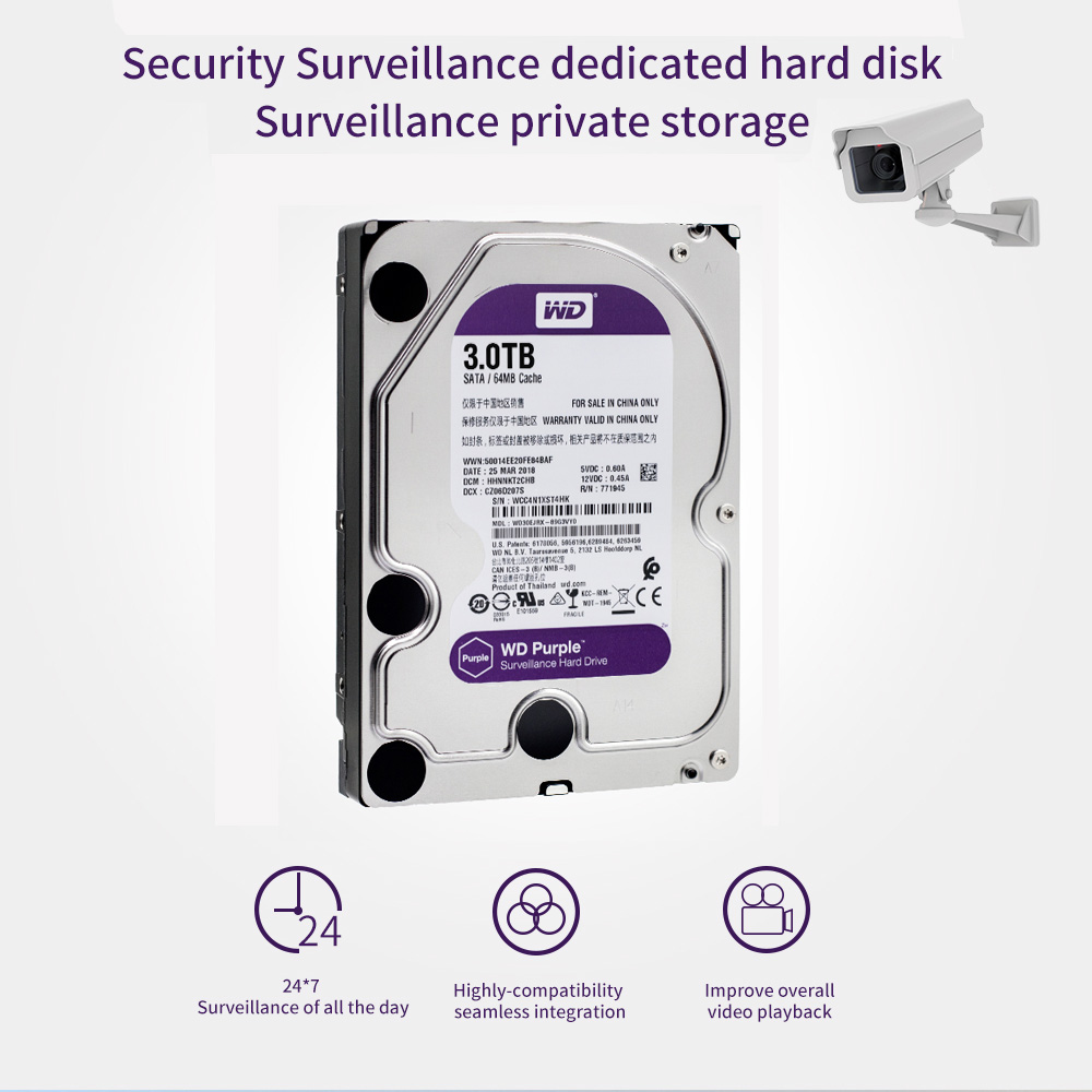 Western Digital WD violet Surveillance HDD 1 to 2 to 3 to 4 to SATA 6.0 Gb/s 3.5