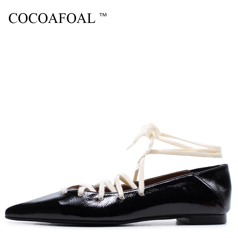 COCOAFOAL Woman Red Ballet Flats Spring Autumn Fashion Black Genuine Leather Plataforma Shoes Fashion Pointed Toe Ballet Flats brilliant genuine sheepskin leather flat heel single shoes 2016 spring summer square toe rhinestones black rose red ballet flats