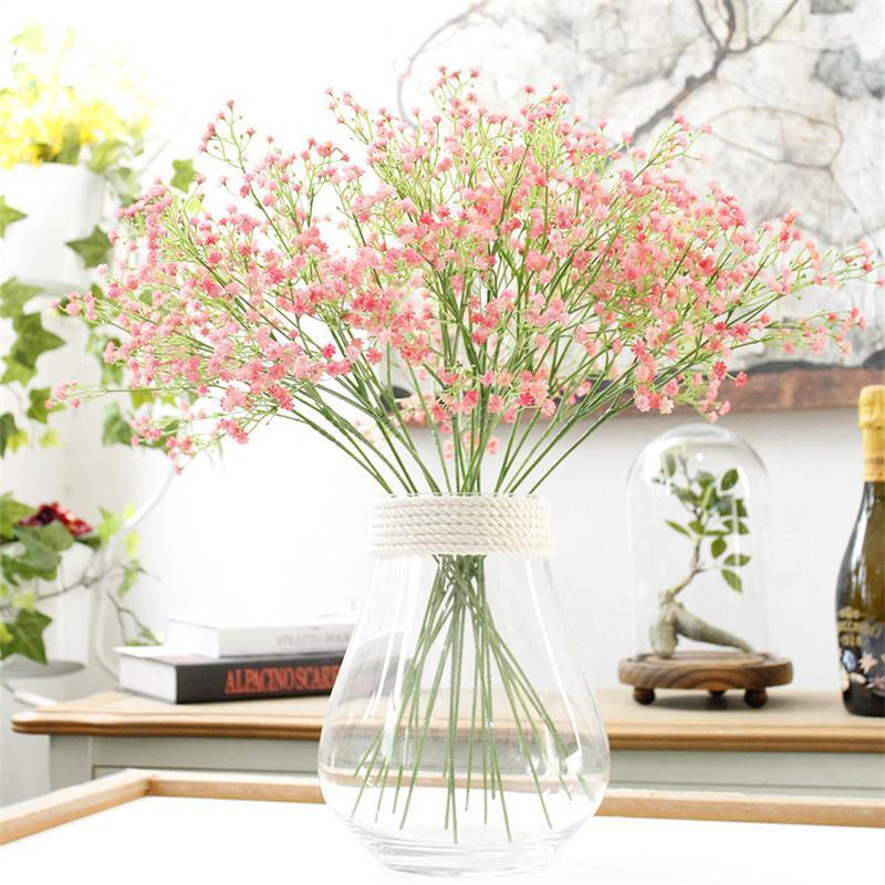 Diy aliento gypsophila flor artificial planta de silicona falsos para la boda ho
