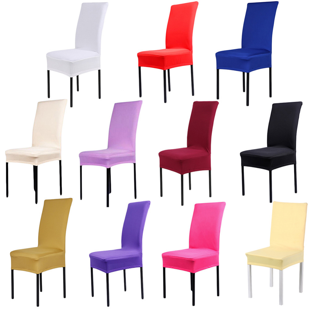 1 Piece 11 Solid Colors Polyester Spandex Dining Chair Covers For Wedding  Party Chair Cover Brown